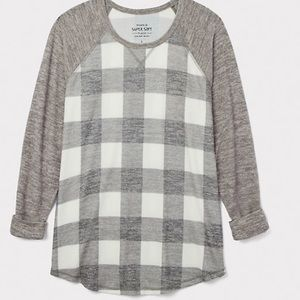 Torrid soft plush grey plaid raglan